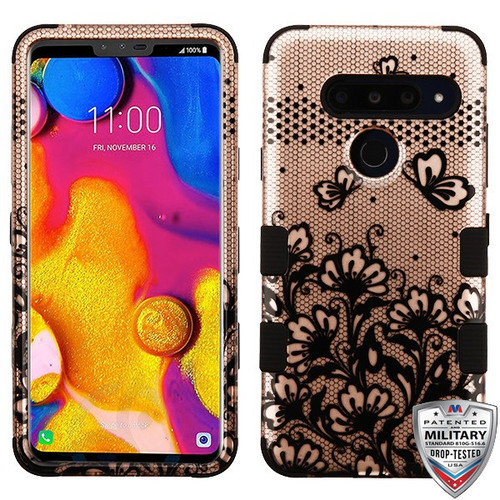 MyBat TUFF Hybrid Protector Cover [Military-Grade Certified] for Lg V40 ThinQ - Black Lace Flowers (2D Rose Gold) / Black