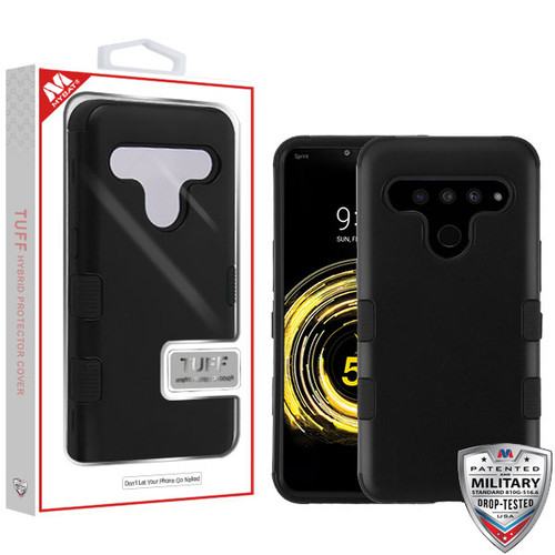 MyBat TUFF Hybrid Protector Cover [Military-Grade Certified] for Lg V50 ThinQ - Rubberized Black / Black