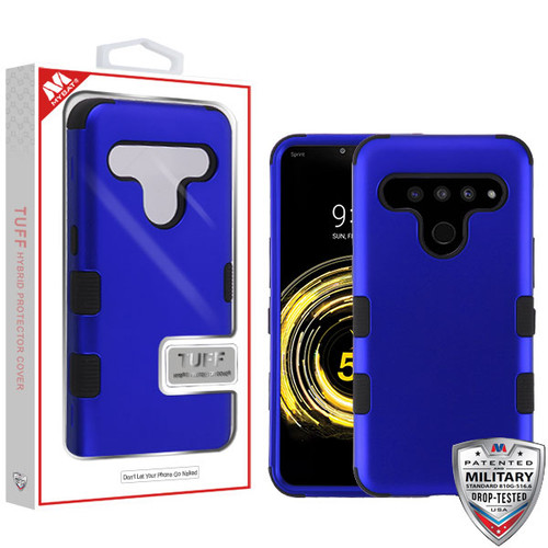 MyBat TUFF Hybrid Protector Cover [Military-Grade Certified] for Lg V50 ThinQ - Titanium Dark Blue / Black