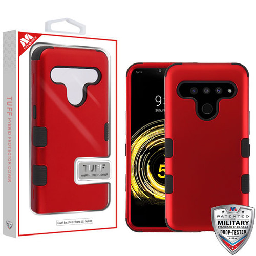 MyBat TUFF Hybrid Protector Cover [Military-Grade Certified] for Lg V50 ThinQ - Titanium Red / Black