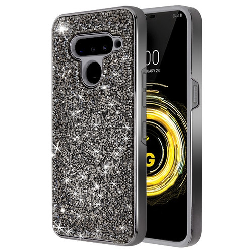 MyBat Encrusted Rhinestones Hybrid Case for Lg V50 ThinQ - Electroplated Gun Metal / Iron Gray