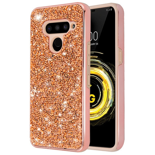 MyBat Encrusted Rhinestones Hybrid Case for Lg V50 ThinQ - Electroplated Rose Gold / Rose Gold