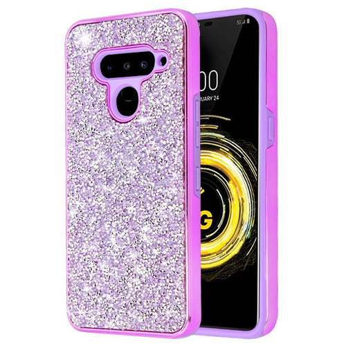 MyBat Encrusted Rhinestones Hybrid Case for Lg V50 ThinQ - Electroplated Purple / Purple