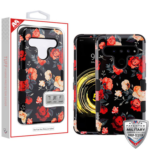 MyBat TUFF Hybrid Protector Cover [Military-Grade Certified] for Lg V50 ThinQ - Red and White Roses / Black