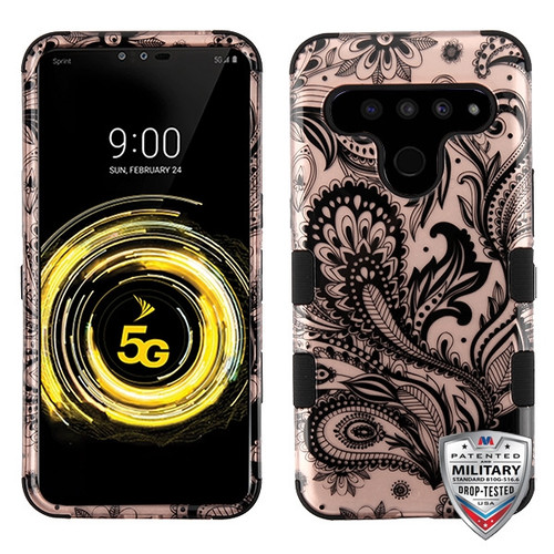 MyBat TUFF Hybrid Protector Cover [Military-Grade Certified] for Lg V50 ThinQ - Phoenix Flower (2D Rose Gold) / Black