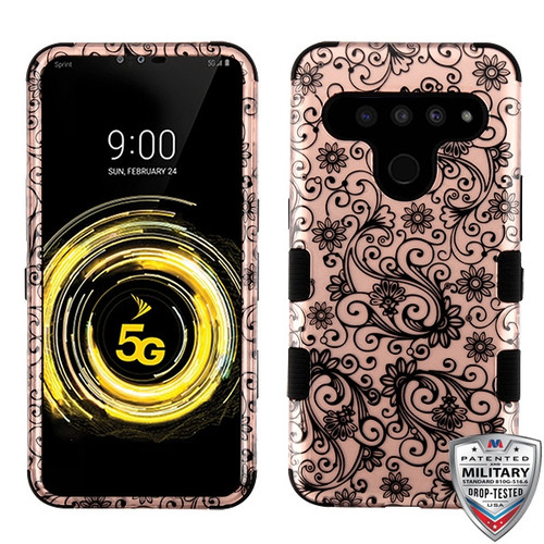 MyBat TUFF Hybrid Protector Cover [Military-Grade Certified] for Lg V50 ThinQ - Black Four-Leaf Clover (2D Rose Gold) / Black