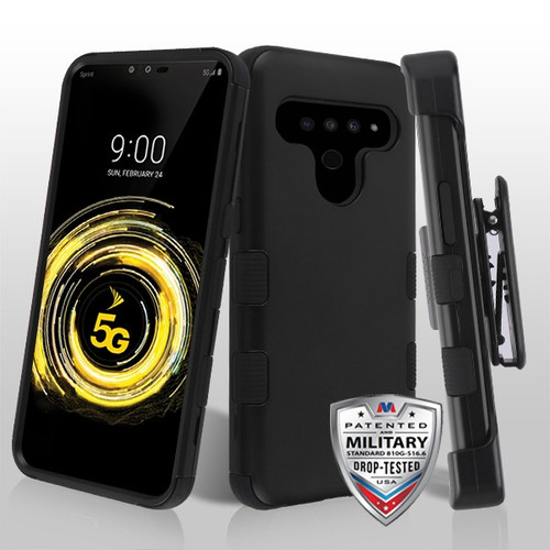 MyBat TUFF Hybrid Protector Case [Military-Grade Certified](with Black Horizontal Holster) for Lg V50 ThinQ - Rubberized Black / Black