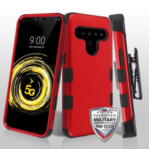 MyBat TUFF Hybrid Protector Case [Military-Grade Certified](with Black Horizontal Holster) for Lg V50 ThinQ - Titanium Red / Black