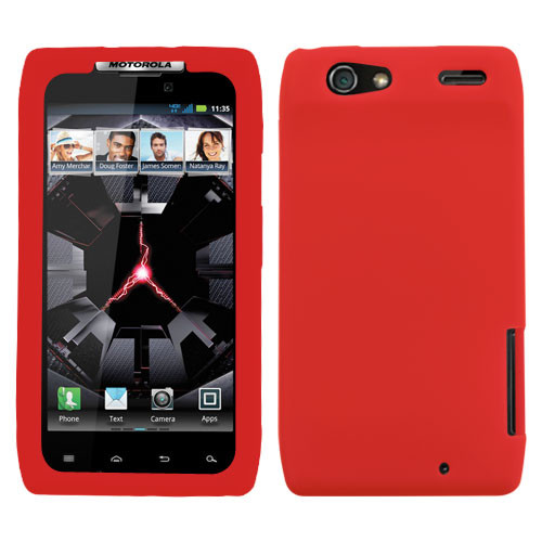 MyBat Solid Skin Cover for Motorola XT912 (Droid Razr) - Red