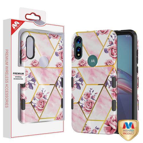 MyBat TUFF Subs Hybrid Case for Motorola Moto E (2020) - Roses Marble / Black
