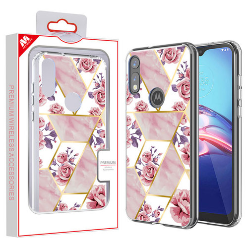 MyBat Fusion Protector Cover for Motorola Moto E (2020) - Electroplated Roses Marbling