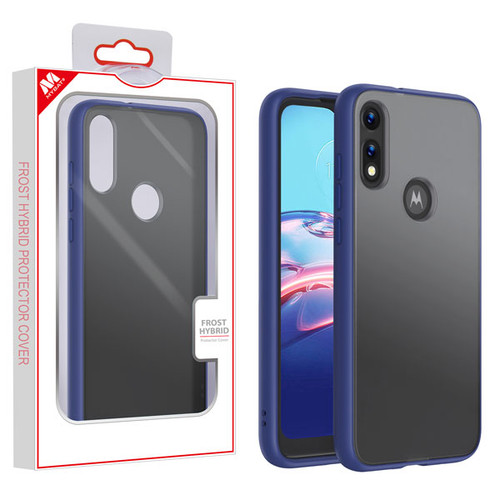 MyBat Frost Hybrid Protector Cover for Motorola Moto E (2020) - Semi Transparent Smoke Frosted / Rubberized Ink Blue