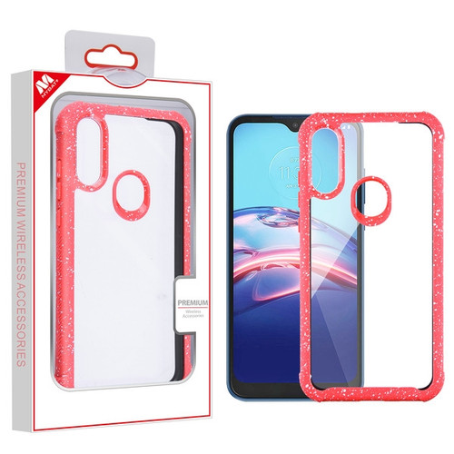 MyBat Hybrid Case for Motorola Moto E (2020) - Highly Transparent Clear / Red Splash
