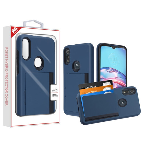 MyBat Poket Hybrid Protector Cover (with Back Film) for Motorola Moto E (2020) - Ink Blue / Black