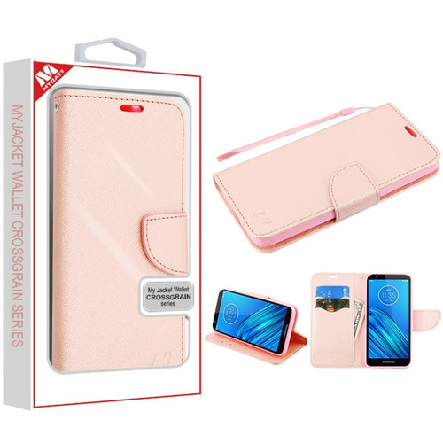 MyBat Liner MyJacket Wallet Crossgrain Series for Motorola Moto E6 - Rose Gold Pattern / Rose Gold