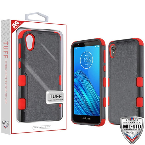 MyBat TUFF Hybrid Protector Cover [Military-Grade Certified] for Motorola Moto E6 - Natural Black / Red
