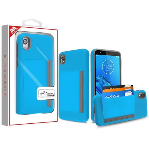 MyBat Poket Hybrid Protector Cover (with Back Film) for Motorola Moto E6 - Blue / Gray