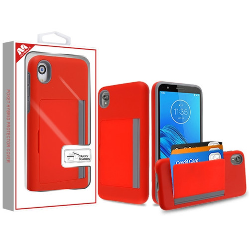 MyBat Poket Hybrid Protector Cover (with Back Film) for Motorola Moto E6 - Red / Gray