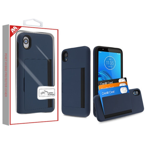 MyBat Poket Hybrid Protector Cover (with Back Film) for Motorola Moto E6 - Ink Blue / Black