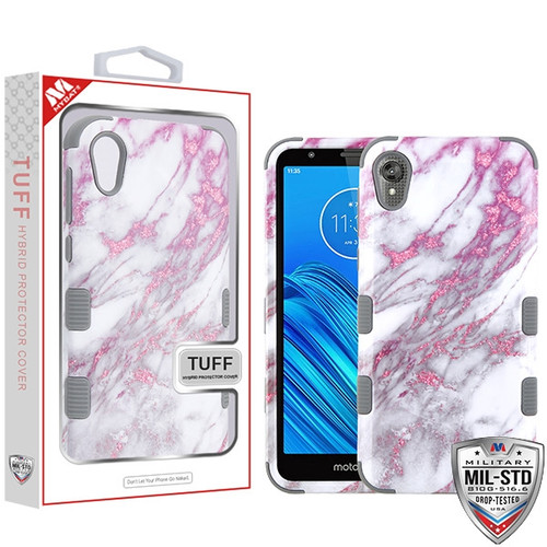 MyBat TUFF Hybrid Protector Cover [Military-Grade Certified] for Motorola Moto E6 - Pink Marbling / Iron Gray