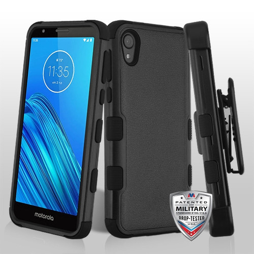 MyBat TUFF Hybrid Protector Case Combo [Military-Grade Certified](with Black Horizontal Holster) for Motorola Moto E6 - Natural Black / Black