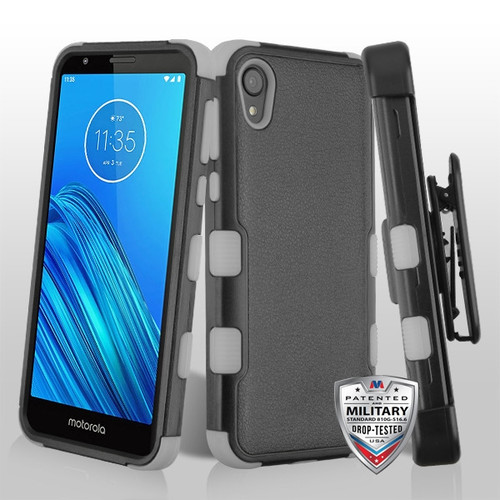 MyBat TUFF Hybrid Protector Case [Military-Grade Certified](with Black Horizontal Holster) for Motorola Moto E6 - Natural Black / Iron Gray