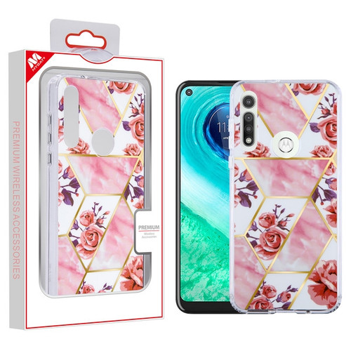 MyBat Fusion Protector Cover for Motorola Moto G Fast - Electroplated Roses Marbling