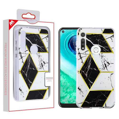 MyBat Fusion Protector Cover for Motorola Moto G Fast - Electroplated Black Marbling