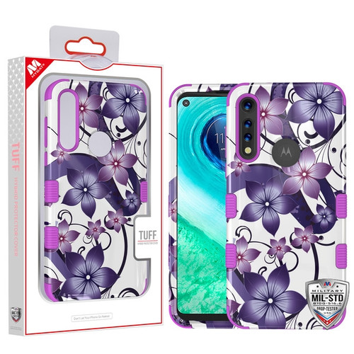 MyBat TUFF Hybrid Protector Case [Military-Grade Certified] for Motorola Moto G Fast - Purple Hibiscus Flower Romance / Electric Purple