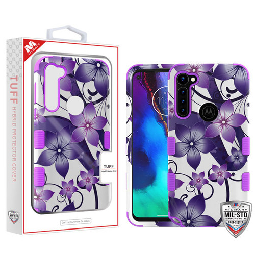 MyBat TUFF Hybrid Protector Cover [Military-Grade Certified] for Motorola Moto G Stylus - Purple Hibiscus Flower Romance / Electric Purple