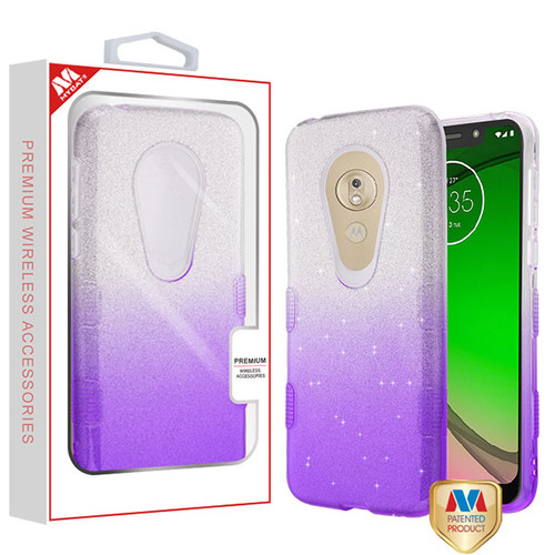 MyBat Full Glitter TUFF Hybrid Protector Cover for Motorola Moto G7 Play - Purple Gradient