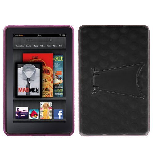 MyBat Hole Pattern Gummy Cover (with Stand) for Kindle fire - Transparent Clear / Semi Transparent Hot Pink