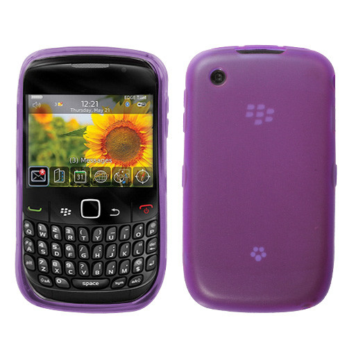 MyBat Candy Skin Cover (Rubberized) for Blackberry 8520 (Curve) - Semi Transparent Purple
