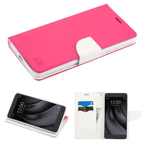 MyBat Liner MyJacket Wallet Crossgrain Series for Coolpad C3701A (Revvl Plus) - Hot Pink Pattern / White