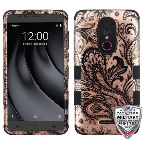 MyBat TUFF Hybrid Protector Cover [Military-Grade Certified] for Coolpad C3701A (Revvl Plus) - Phoenix Flower (2D Rose Gold) / Black