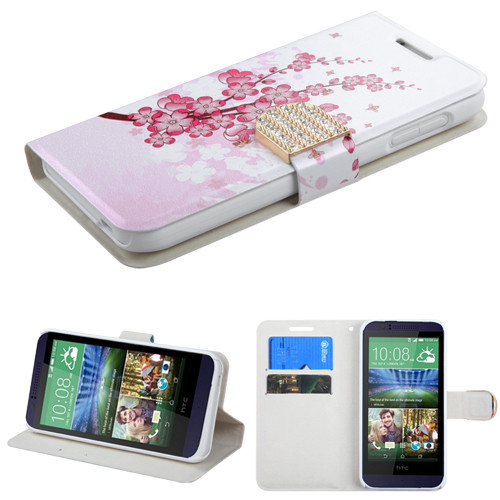 MyBat MyJacket Wallet (with Diamante Belt) for Htc 510 (Desire 510) - Spring Flowers