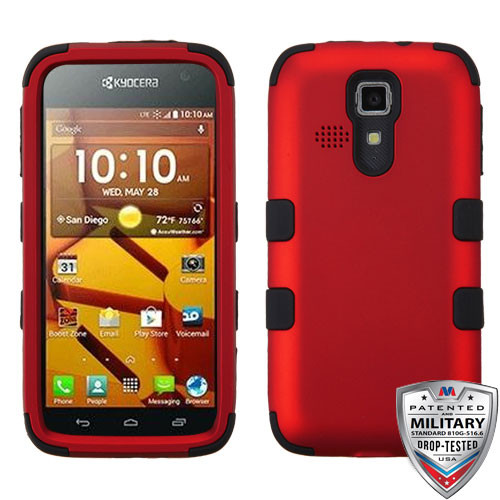 MyBat TUFF Hybrid Protector Cover [Military-Grade Certified] for Kyocera C6730 (Hydro Icon) - Titanium Red / Black