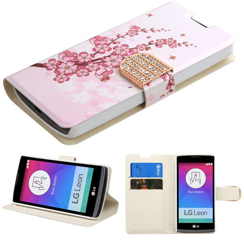 MyBat MyJacket Wallet(with Diamante Belt) for Lg C40 (Leon)/H320 - Spring Flowers