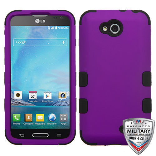 MyBat TUFF Hybrid Protector Cover [Military-Grade Certified] for Lg D415 (Optimus L90) - Rubberized Grape / Black