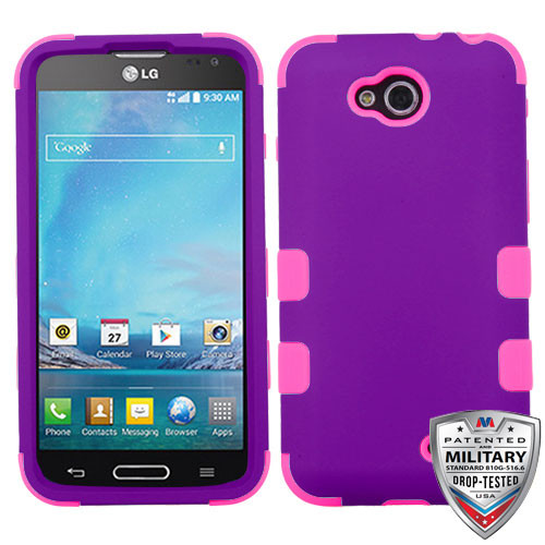 MyBat TUFF Hybrid Protector Cover [Military-Grade Certified] for Lg D415 (Optimus L90) - Rubberized Grape / Electric Pink