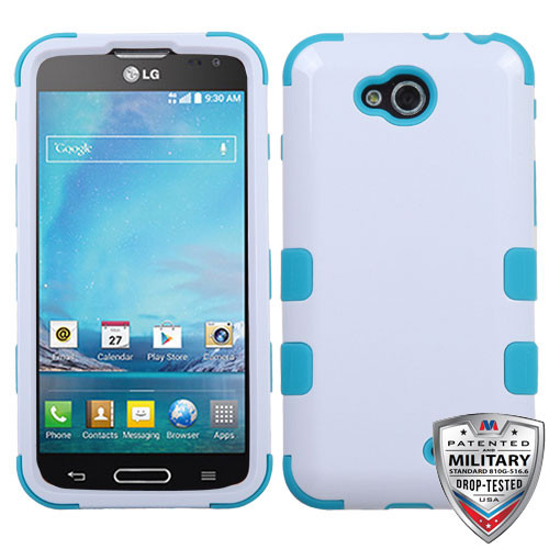 MyBat TUFF Hybrid Protector Cover [Military-Grade Certified] for Lg D415 (Optimus L90) - Ivory White / Tropical Teal