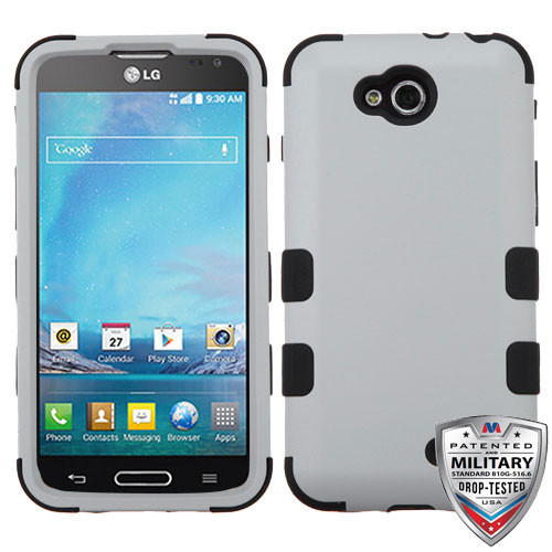 MyBat TUFF Hybrid Protector Cover [Military-Grade Certified] for Lg D415 (Optimus L90) - Rubberized Gray / Black