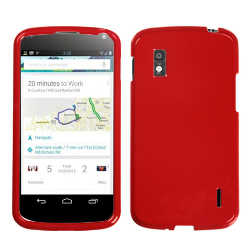 MyBat Protector Cover for Lg E960 (Nexus 4) - Solid Flaming Red