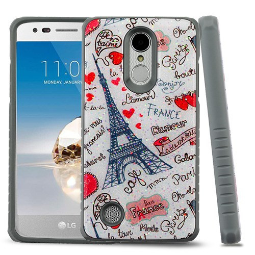 MyBat Fusion Protector Cover for Lg L58VL (Rebel 2) - Eiffel Tower Love Gel / Iron Gray Glitter