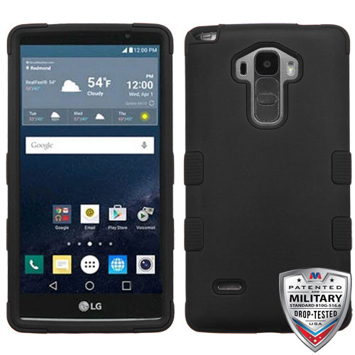 MyBat TUFF Hybrid Protector Cover [Military-Grade Certified] for Lg LS770 (G Stylo) - Rubberized Black / Black