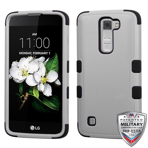 MyBat TUFF Hybrid Protector Cover [Military-Grade Certified] for Lg MS330 (K7) - Natural Gray / Black