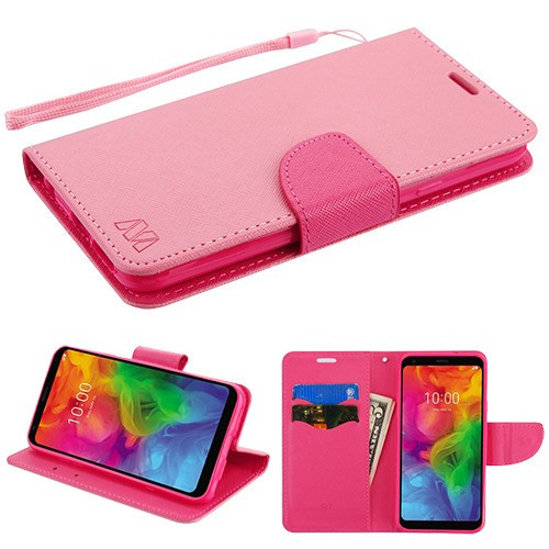 MyBat Liner MyJacket Wallet Crossgrain Series for Lg Q7 - Pink Pattern / Hot Pink