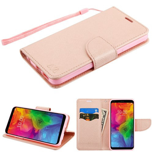MyBat Liner MyJacket Wallet Crossgrain Series for Lg Q7 - Rose Gold Pattern / Rose Gold