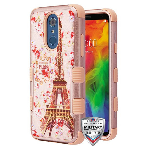 MyBat TUFF Hybrid Protector Cover [Military-Grade Certified] for Lg Q7 - Paris in Full Bloom Textured Rose Gold / Rose Gold