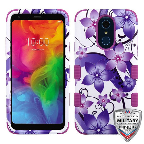 MyBat TUFF Hybrid Protector Cover [Military-Grade Certified] for Lg Q7 - Purple Hibiscus Flower Romance / Electric Purple